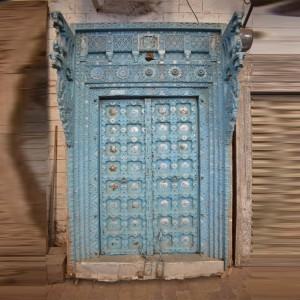 Indian Antique Old Door Hand Carved Extra Large Door Blue