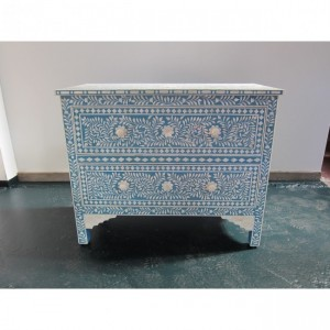 Maaya Bone Inlay Chest sideboard Blue and White Floral