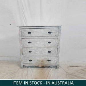 Indian Solid Wood Chest Of Drawers Whitewash