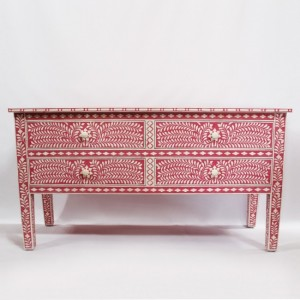 Maaya Bone Inlay Console sideboard Pink and White Floral