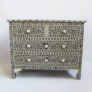Maaya Bone Inlay Chest sideboard Black and White Floral L