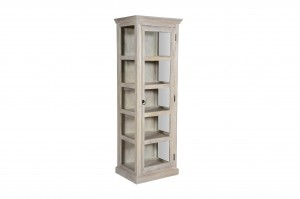 MADE TO ORDER Indian Mango Wooden Display Cabinet Glass Door White