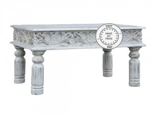 Mandala Indian Hand Carved Solid Wood Coffee Table White