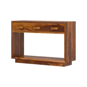 Brocton Rustic Solid Wood 2 Tier Entryway Console Table With Drawers