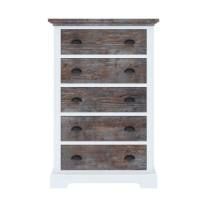 Blanc Indian Solid Wood Tall Bedroom Dresser with 5 Drawers