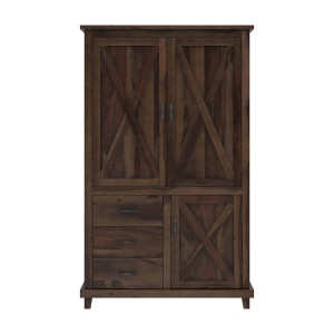 X - Design Rustic Farmhouse Solid Wood Large Clothing Armoire Wardrobe