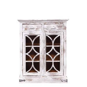 French Reclaimed Wood 2 Drawer Small Rustic Buffet Cabinet