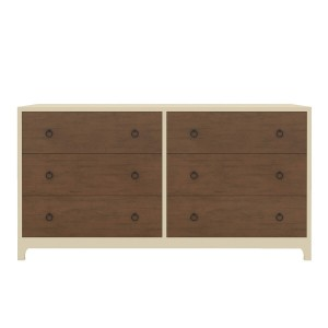 Blanc Indian Solid Wood Two Tone Bedroom Dresser with 6 Drawers