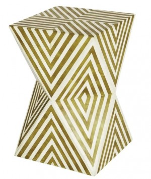 Maaya Bone Inlay Round drum Side Table Yellow Geometric