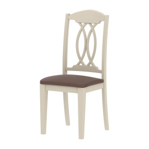 Indian Solid Wood Dining Chair with Leather Seat White