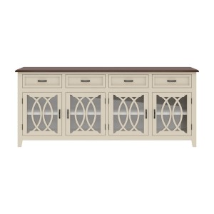 French Arched Indian Solid Wood 4 Drawers Extra Large Long Sideboard