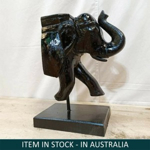 Hand Carved Wooden Vintage Half Elephant On Stand Home Decor Black