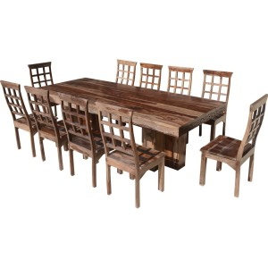 Dallas Ranch Rustic Solid Wood Double Pedestal Dining Table Set For 10