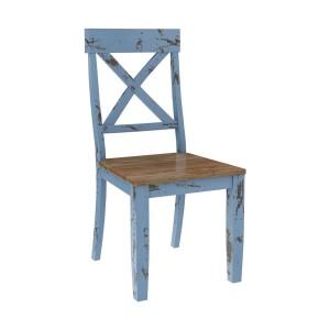 Nauvoo Blue Two Tone Mahogany Wood Dining Chair