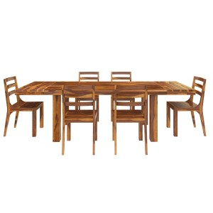 Indian Rustic Solid Wood 7 Piece Extension Dining Table Chair Set Honey