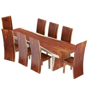Solid Wood Single Slab Live Edge Dining Table and 8 Chair Set Brown