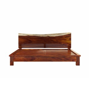 Live Edge Indian Solid Wood Platform Bed w Sigle Slab Headboard