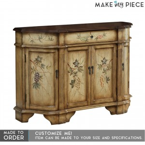 Contemporary Floral Painted Wooden Sideboard