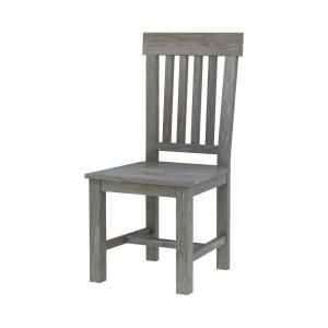 Alamosa Solid Teak Wood Grey Dining Slat Back Dining Chair