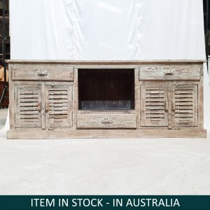 French shutter design Rustic Solid Wood Media Console Plasma TV Unit Large 1.84m