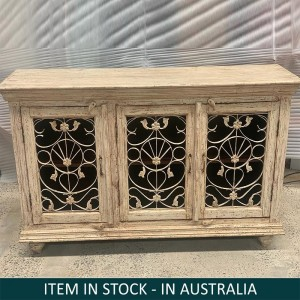Indian Solid Wood Jali Sideboard 3 door Natural