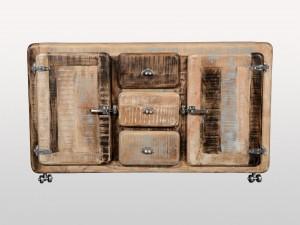 Cromer Indian Solid Wood Buffet Double Door 3 Drawer Sideboard