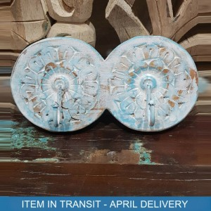 Indian Antique Hand Carved Wooden Round Wall Hanger Blue 24x10 cm