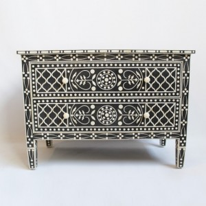 Maaya Bone Inlay Chest sideboard Black and White