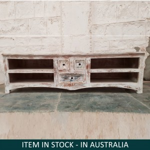 Rustica Reclaimed Wood Recycled Boat Timber TV Unit Large Plasma Stand 1.6m