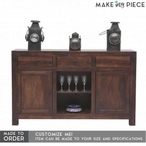 Contemporary Solid wood Sideboard Console Brown