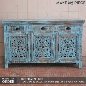 Jali Carved Solid wood Sideboard Rustic Blue