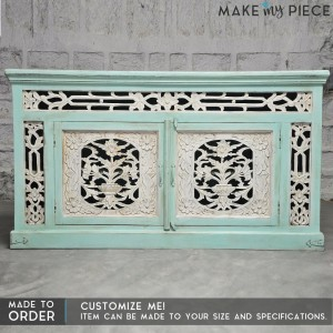 Jali Carved Solid wood Sideboard TURQUOISE