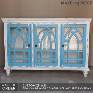 French style arched white blue glass door sideboard