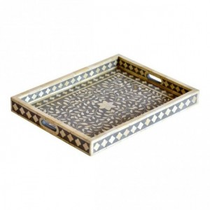Maaya Bone Inlay Serving Tray - Floral Design Grey 49x39x5cm