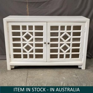 Hand Carved Indian Solid Wood Sideboard Jali Cabinet White