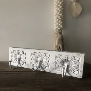 Floral Hand Carved Old Wood Coat Rack Wall Hanger With 3 Hooks 30cm