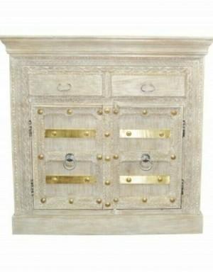 Antique Brass Work 2 x door carved Sideboard whitewash