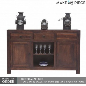 Contemporary Solid wood Sideboard Brown 148CM
