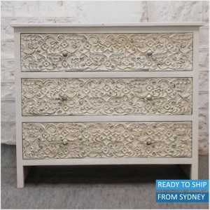 Paris hand carved dresser 3 drawers Indian