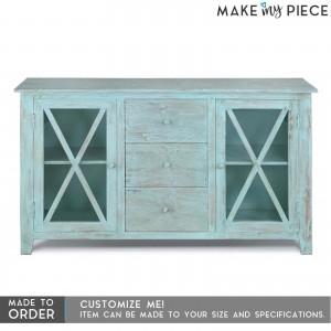 Contemporary X design solid wood 3 Drawer 2 Door sideboard