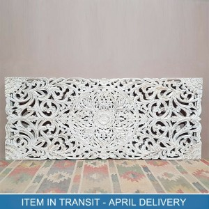 Dynasty Hand Carved Indian Solid Wood Bed Head Panel White