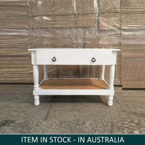 Indian Wooden Center Study Desk Table White 90 cm