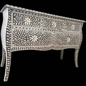 Maaya Bone Inlay Chest Of Drawer Black White Floral Pattren