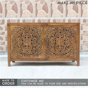 Floral Jali Design Indian french Sideboard Honey Brown