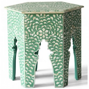 Maaya Bone Inlay Round Side Table Green White Floral
