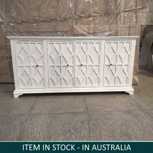 Indian Wooden Sideboard 4 Door White 200 cm
