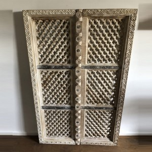Hand Carved Indian Solid Wood Jali Doors Set White 127cm B