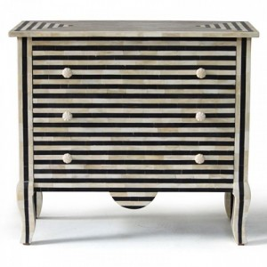 Maaya Bone Inlay Chest sideboard Black and White Striped