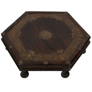 Embossed Antique Brass work Table Hexagonal Big Brass Work