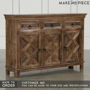 Contemporary Cross Design Mango wood 3 Door 3 Drawer Sideboard